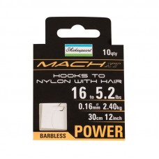 Mach XT Power  Hooks to Nylon Hair Rig Barbless